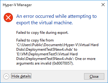 An_error_occured_while_attempting_to_export_the_virtual_machine