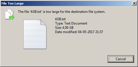 Error 0x80070299 due to a file system limitation Windows