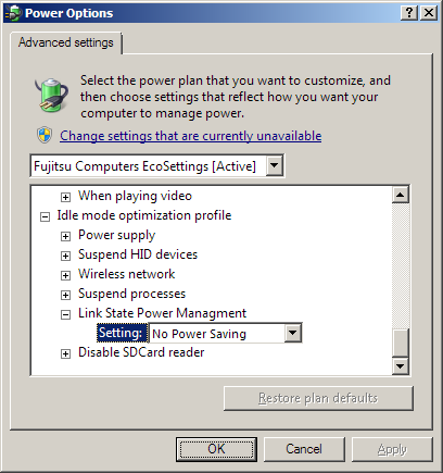 Adjust Power Options to prevent DRIVER_POWER_STATE_FAILURE